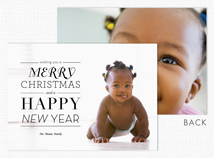 Merry Christmas Happy New Year Holiday Photo Card